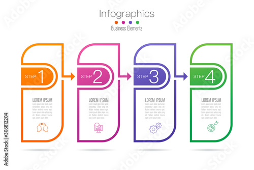 Infographics design vector with 4 options and business icons Wallpaper Mural