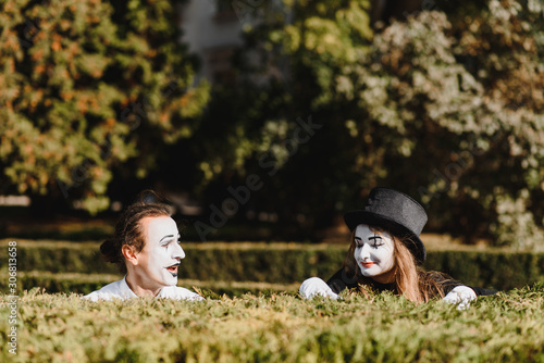 Street artists performing, Two mimes man and woman in april fools day Canvas Print