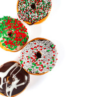 Sweet Donuts With Sprinkel On White Background. Christmas Donuts