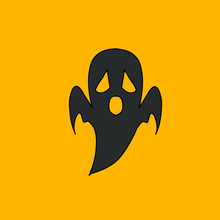 The Scary Spooky Black Ghost Logo Mascot Design Wallpaper With Orange Background