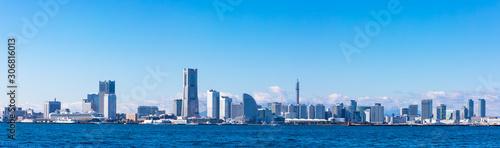 (神奈川県ー風景パノラマ)埠頭から望む横浜湾岸エリア4