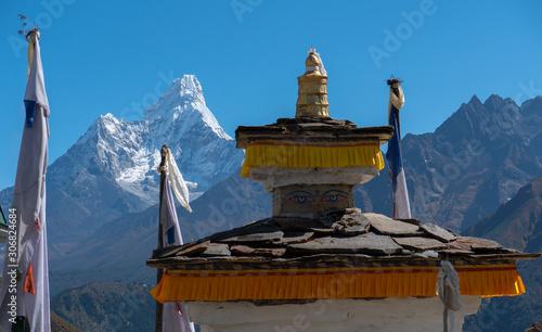Obraz na plátně  Ama Dablam view in the way to mount Everest , Khumbu valley, Sagarmatha national park, Nepal