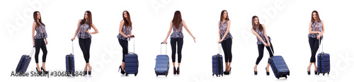 Photo Woman with suitcase in travel concept isolated on white