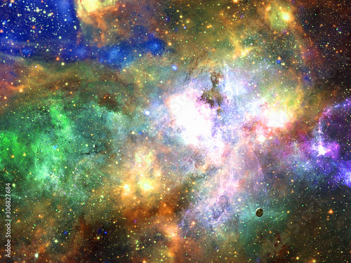 Infinite beautiful cosmos rainbow background with nebula, cluster of stars in outer space. Beauty of endless Universe filled stars.Cosmic art, science fiction wallpaper