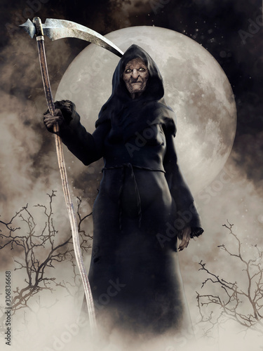 Fotomural Fantasy scene with an old witch holding a scythe and standing in the fog against the full moon