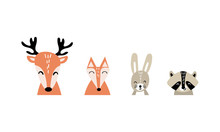 Set Of Cute Cartoon Woodland A...