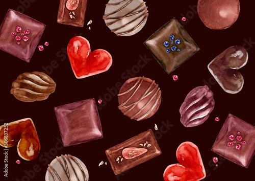 バレンタイン チョコレート 背景 テキスタイル 水彩 イラスト Stock Illustration Adobe Stock