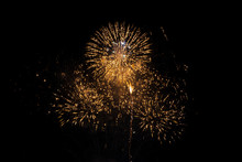 Gold Fireworks On Black Background For Winter And New Year Festivals