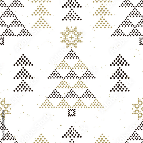 obraz PCV Abstract winter seamless pattern with Christmas trees on a white background. Geometric decor of polka dots. Vector .