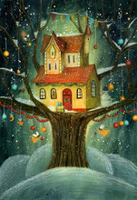 Night Christmas Winter House On A Tree With Snowfall, Snowman, Fairies And Banners. Hand Drawn Illustration.