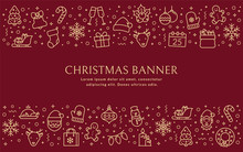 Christmas Banner With Outline Icons. Vector Background.
