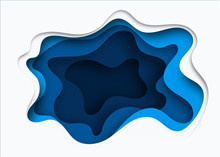 3D Abstract Blue Wave Background With Paper Cut Shapes. Vector Design Layout For Business Presentations, Flyers, Posters. Eps10