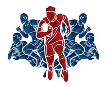 Rugby Players Action Cartoon Sport Graphic Vector