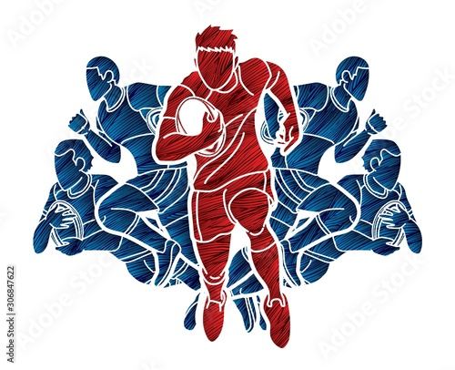Wallpaper Mural Rugby players action cartoon sport graphic vector