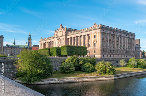 The facade of Parliament House in Stockholm in the morning at summer day Canvas Print