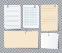 Note Papers Sheets. Different Notepaper With Paper Clips, Memo Stickers. Notepad For Notice, Appointment List Of Notebook Vector Set. Illustration Memo Notebook, Notepad List And Notepaper