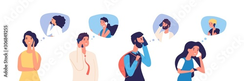 Obraz People talking phone. Men, women, teenagers calling by telephone. Flat communication and conversation with smartphone vector characters. Phone conversation and communication illustration - fototapety do salonu