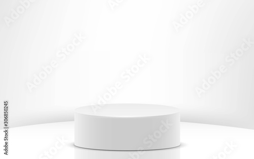 Fotomural white cylinder in the white studio room