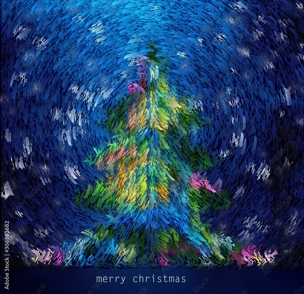 New Year and Christmas card, tree with snowflakes set in the style of van Gogh.