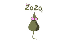 The Symbol Of 2020 Is A Mouse.stylized Numbers Of The New Year. Cute Christmas Flat Illustration. Use It On Postcards, T-shirts, Bags, On Your Website, Blog-anywhere. Enjoy The Holidays.