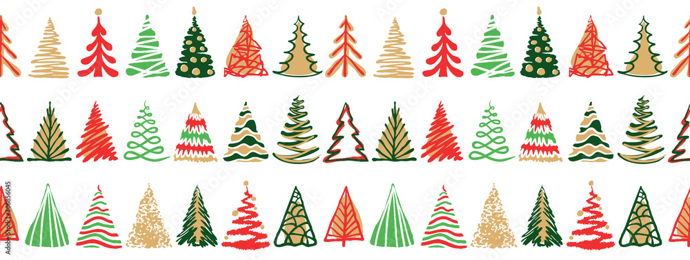 Obraz Hand drawn doodle christmas tree seamless border pattern. Red green color holiday style. New year vector symbol set. Simple artistic line stroke. Silhouette decor icons isolated on white background fototapeta, plakat