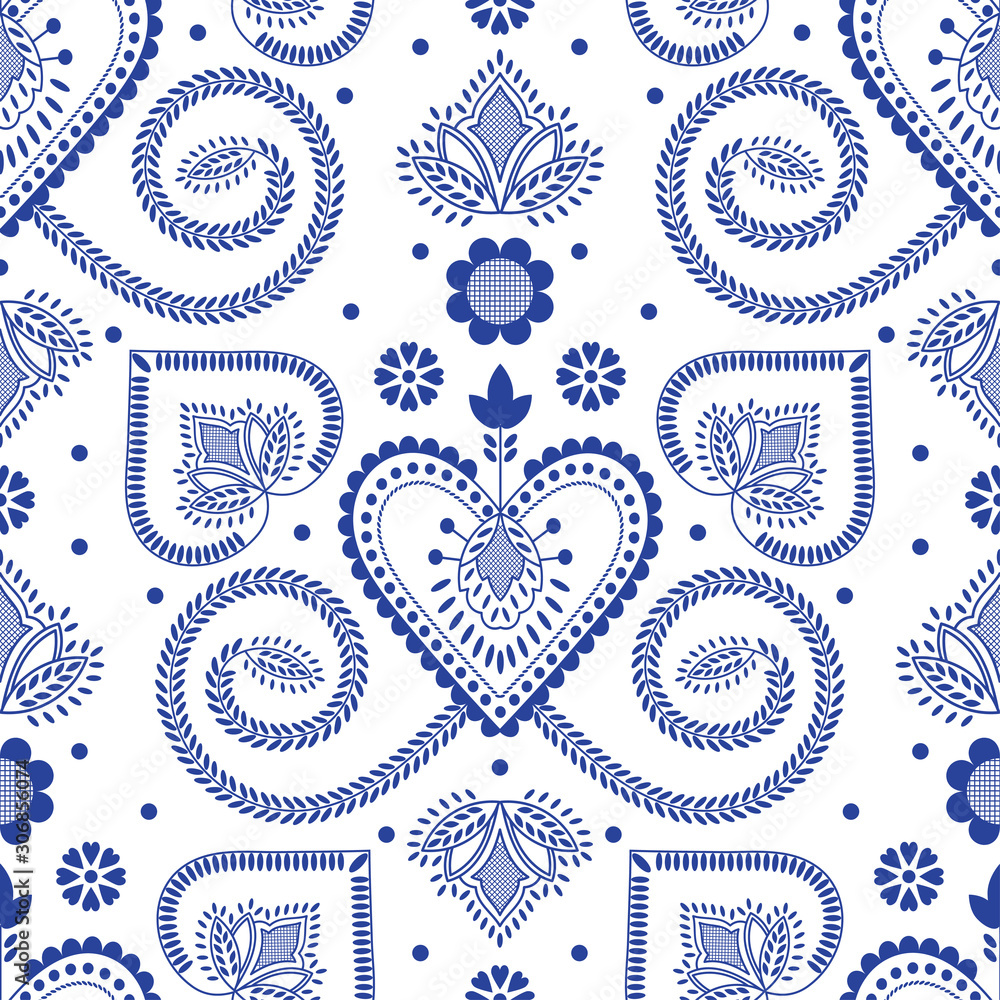 Folklore floral Nordic Scandinavian pattern vector seamless. Ethnic blue and white ornament background. Design for gift wrapping paper, holiday tablecloth fabric, party decoration or napkin print.