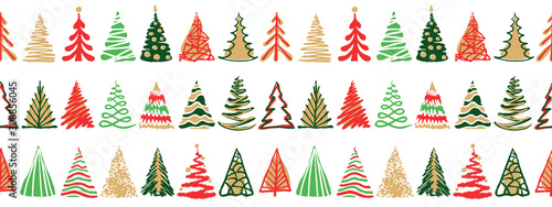 Fototapeta Hand drawn doodle christmas tree seamless border pattern. Red green color holiday style. New year vector symbol set. Simple artistic line stroke. Silhouette decor icons isolated on white background obraz
