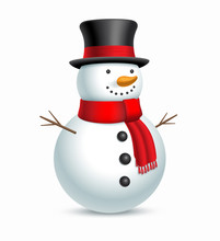 Christmas Snowman With Hat And...