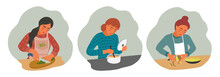 Set Of The Girls Is Cooking. Young Womans With Pan, Knife And Ladle. Vector Flat Illustration