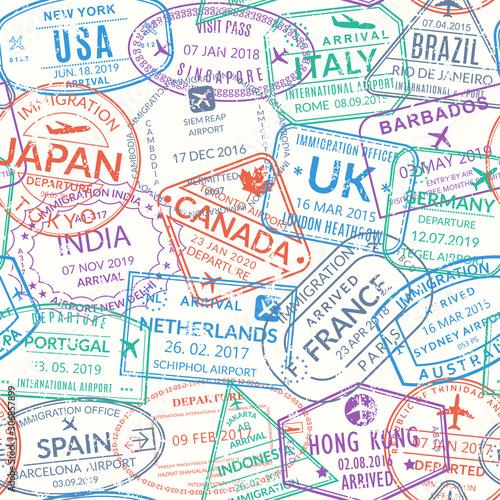 Tapety Francuskie  paszport-pieczec-wzor-lub-tlo-znaczki-wizowe-do-podrozy-znaki-grunge-miedzynarodowego-lotniska-symbole-imigracji-przyjazdu-i-wyjazdu-z-roznymi-miastami-i-krajami-ilustracja-wektorowa