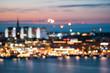 Stockholm, Sweden. Night Skyline Abstract Boke Bokeh Background. Design Backdrop. Klara Church In Night Lighting