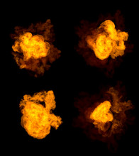 4 Different Pictures Of Fire E...