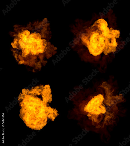 Fotografia 4 different pictures of fire explosion - high detail bomb blast concept isolated