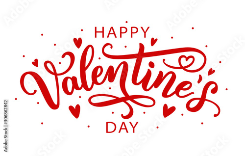 Obraz Happy Valentines Day greeting card. Calligraphic design for print cards, banner, poster Hand drawn text lettering for Valentines Day with hearts shape Vector illustration isolated on white background. - fototapety do salonu
