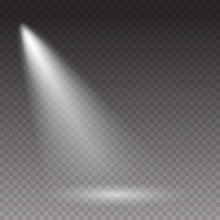 Projector Light Effect Isolated On Transparent Background. Vector Glow Stage Spotlight. Shine Spot Beam Template.