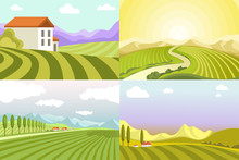 Landscapes Of Countryside, Fie...