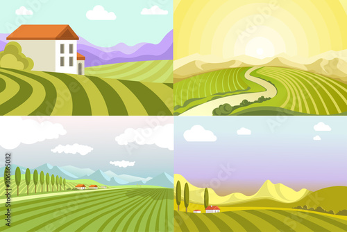 Obraz Landscapes of countryside, fields and cottage houses, rural valleys - fototapety do salonu
