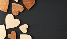 Many Wooden Hearts On The Wooden Table