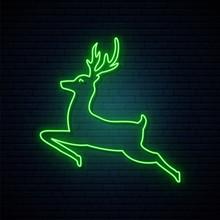 Jumping Deer Green Neon Sign. ...