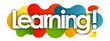 Leinwanddruck Bild - learning in color bubble background