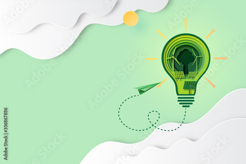 Fotomural  Paper art of green energy for ecology and environment conservation concept landing page website template background