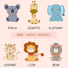 Vector Set Cute Baby Animals, ...