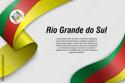 Papel de parede Waving ribbon or banner with flag rio grande do sul