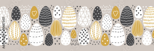 Cute Scandinavian Easter Eggs collection horizontal background with hand drawn t Wallpaper Mural