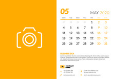 Desk Calendar Template For May 2020. Week Starts On Monday. Typographic Design Template. Vector Illustration