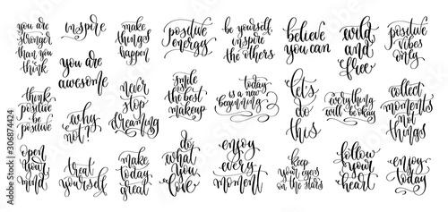 Obraz set of 25 hand lettering motivation and inspiration positive quote - fototapety do salonu