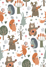 Vector Seamless Pattern With Hand Drawn Wild Forest Animals With Musical Instruments.