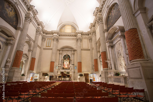 VENICE ITALY ON JANUARY 19, 2019: Church interior for concert Canvas Print