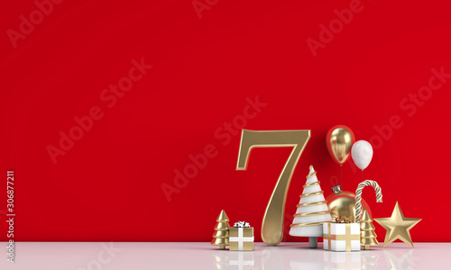 Comics The 12 days of christmas. 7th day festive background. 3D Render