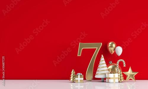 Fond de hotte en verre imprimé Pain The 12 days of christmas. 7th day festive background. 3D Render
